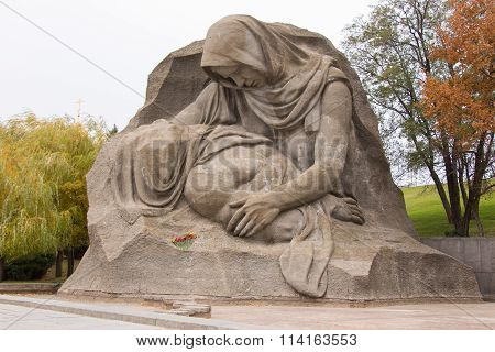"Sculpture Mourning Mother Close-up On The Area Of Grief Historical Memorial Complex ""to Heroes"