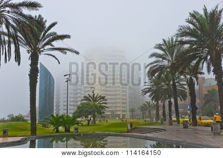 Peru. Fog over the morning in Lima's Miraflores