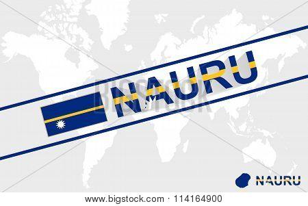 Nauru Map Flag And Text Illustration
