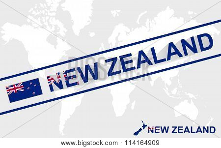 New Zealand Map Flag And Text Illustration