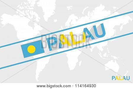 Palau Map Flag And Text Illustration