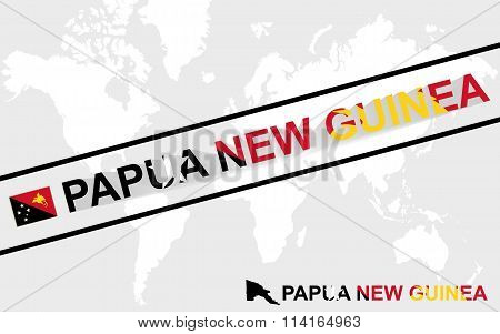 Papua New Guinea Map Flag And Text Illustration