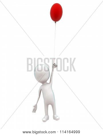 3D Man Flying Upwards With The Help Of Balloon Concept