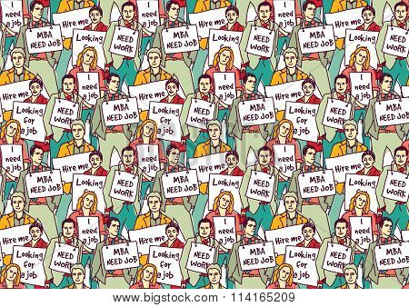 Big group unemployment business people color seamless pattern.
