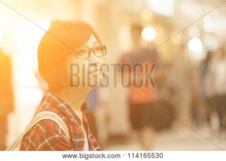 Young girl of Asian at mall in Taipei, Taiwan.