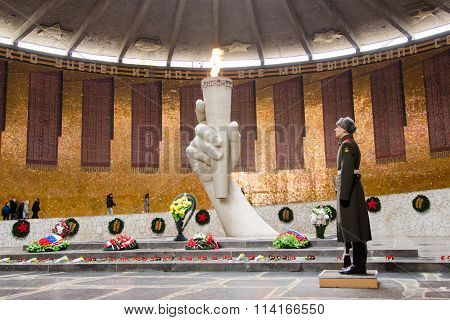 View Of The Hall Of Military Glory, Honor Guard And The Eternal Flame In The Historical-memorial Com