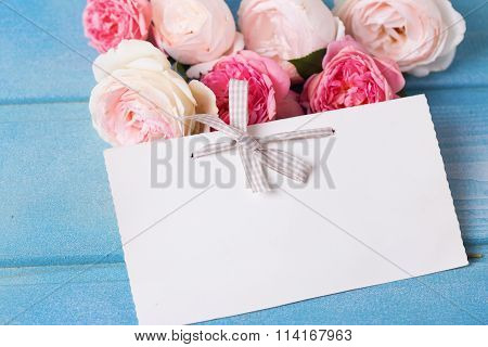 Sweet  Pink And White Roses  And Empty Tag