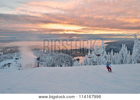 Grouse Mountain Ski Hills At Sunset