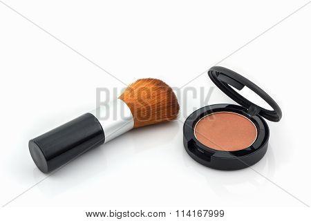 Closeup Of Face Powder And Makeup Brush.