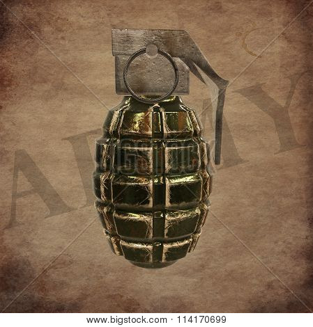 grenade on old paper