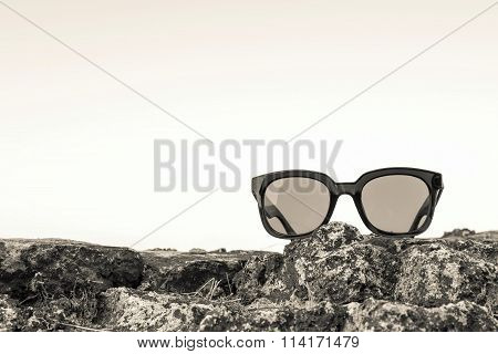 Modern Sunglasses From Beige Plastic Are Located Separately