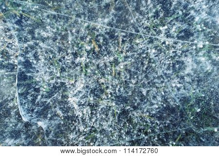 Abstract Transparent Texture Natural Ice Of Indigo Color