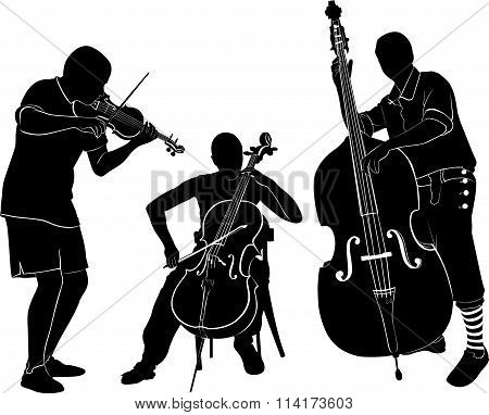 musicians play on the violin and cello bass
