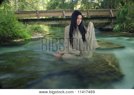 Beautiful Teen In A Creek