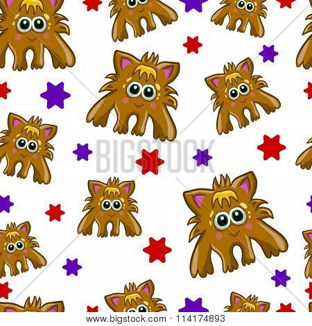 Seamless Pattern With Cute Monster-2