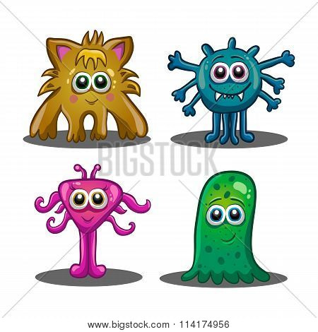 Set Of Cute Cartoon Monsters
