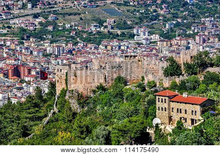 Panoramic view on lower castle and city from the upper castle in Alanya