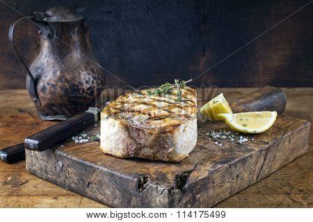 Barbecue Swordfish Steak on Chopping Board