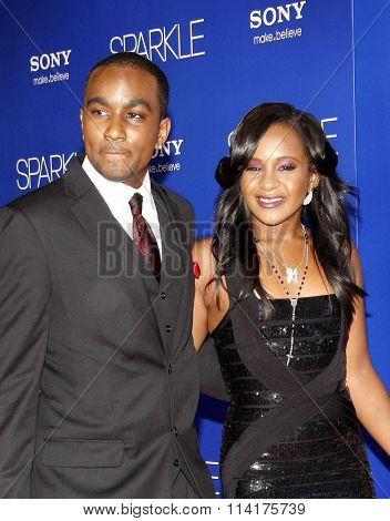 Nick Gordon and Bobbi Kristina Brown at the Los Angeles premiere of