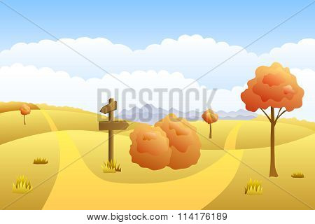 Meadow autumn landscape day road way mark illustration vector