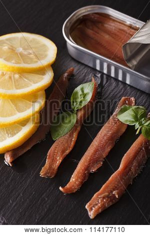 Canned Anchovy Fillets, Basil And Lemon Close Up Vertical