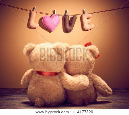 Valentines Day.Word Love heart.Couple Teddy Bears