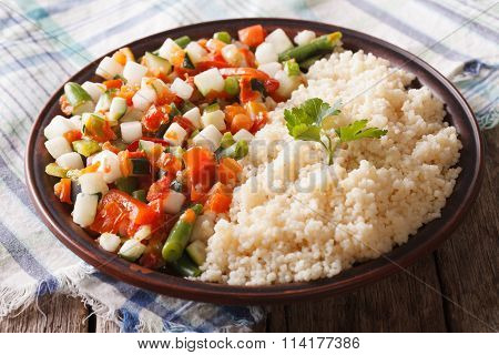 Couscous With Vegetables And Herbs Closeup. Horizontal