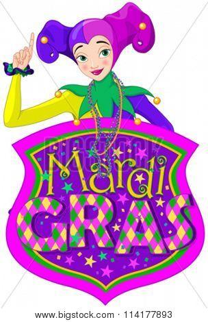 Illustration of Mardi Gras lady holds sign