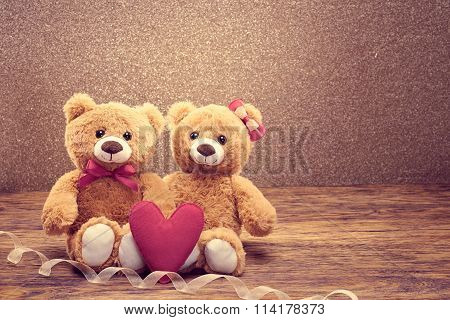 Valentines Day. Love heart. Couple Teddy Bears