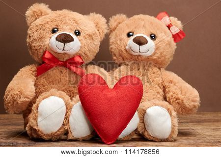 Valentines Day. Love red heart.Couple Teddy Bears