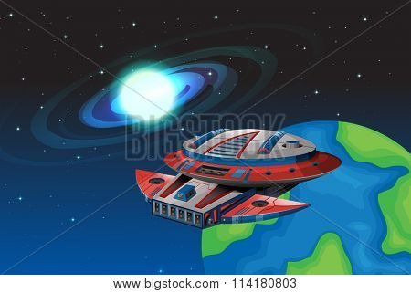 Spaceship floating in the dark space illustration