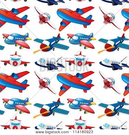 Seamles different design of airplane illustration