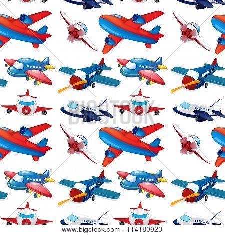 Seamles different design of airplane illustration