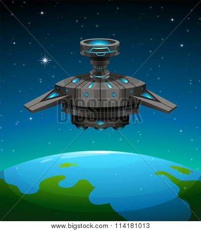 Spaceship flying over the earth illustration