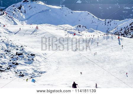 View down ski piste