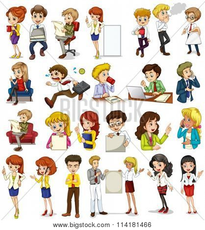 Business people doing different activities illustration