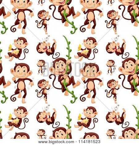 Seamless monkey in different actions illustration