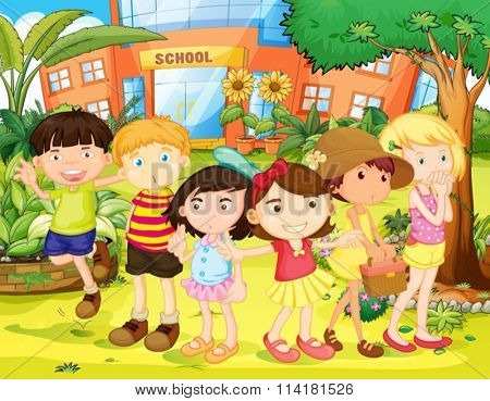 Boys and girls having fun in the school yard illustration