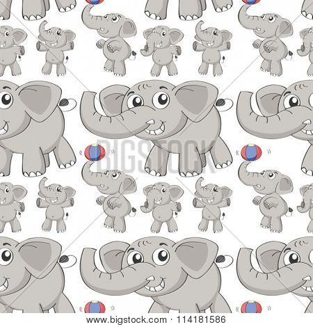 Seamless different post of elephant illustration