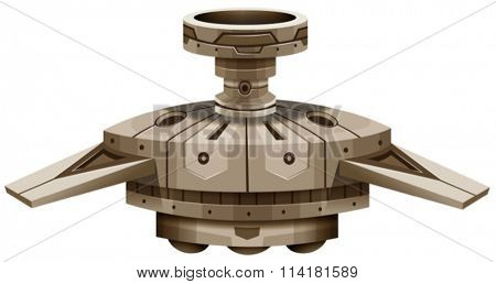 Round spaceship with wings illustration