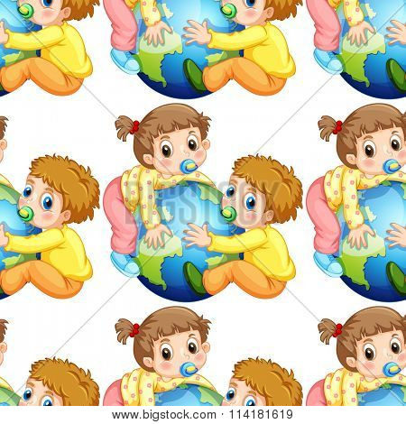 Seamless todlers boy and girl holding earth illustration
