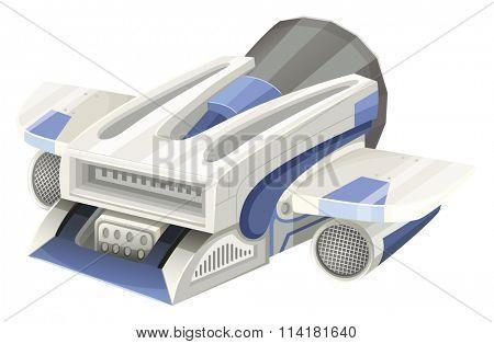 Modern spaceship flying on white background illustration