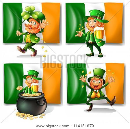 St Patrick day theme with elf and flag illustration