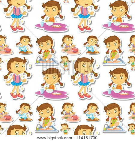 Seamle little girl doing chores illustration