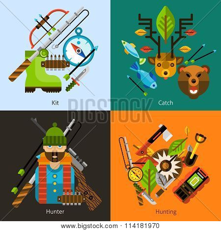 Hunting and fishing flat set
