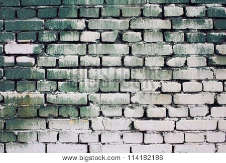 Brick Old Wall Texture With Gradient Paint Green White Colors For Background, Abstract Photo