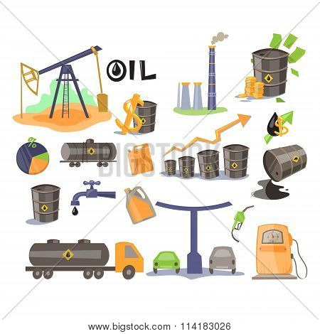 Oil Icon Set. Vector Illustration