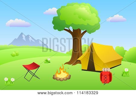 Camping meadow summer landscape day tent campfire tree illustration vector