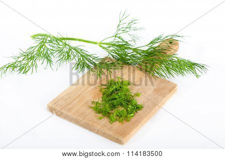 Dill twigs and chopped dill.