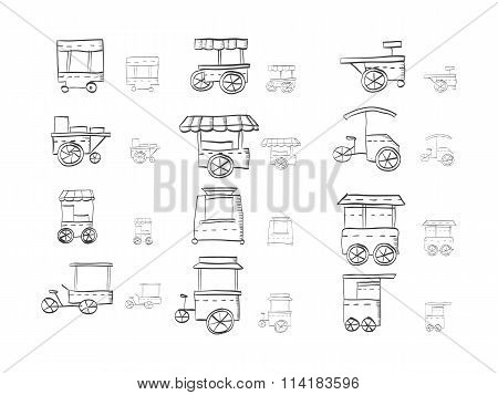 Sketch icons vector collection for food trolley